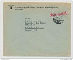 Deutsches Reich Vordruckumschlag NSDAP Gau Tirol 28.11.38 (37916) - Deutschland