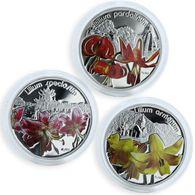 Niue 2012 Set 3 Coins X 28.28g Silver $1 MAGICAL FLOWERS LILIES - Niue
