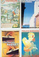 4 Anciennes Pubs - CF Vernon - Folies-Bergère - Cie Navigation Paquet Marseille-Casablanca - Hambourg-Américan Line - Boats