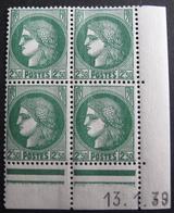 Lot FD/1272 - TYPE CERES - BLOC NEUF N°375 Coin Daté 13.1.39 - Cote : 18,00 € - 1930-1939