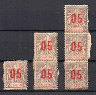 Gabon N° 68A (chiffres Espacés) Neuf (*) (neuf SANS Gomme) - Unité + Paire Et Bande Verticales De 3 - Gabon (1886-1936)
