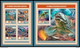 NIGER 2017 - Water Prehistorics, M/S + S/S. Official Issue - Prehistorisch