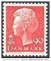 DENEMARKEN 1974 90õre Margrethe I Fluorescerend Rood PF-MNH-NEUF - Neufs