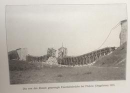 Photos Allemandes Recto Verso -397 Pont Détruit Pluhow Galicie Est 1915 - Reconstruit Par Génie - Optics