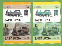 MiNr.828-829 Xx Senkr.Zsdr.-Paar Fehlender Druck Der Farbe Rot - St.Lucia (1979-...)