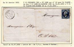 JURA  : T 15 COUSANCE  + PC 1008  Sur Yt N° 10 Sur LSC En 1853 ( Indice 8 ) - Postmark Collection (Covers)