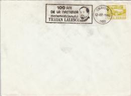 70046- TRAIAN LALESCU, MATHEMATICIAN, SPECIAL POSTMARK ON COVER, CAR STAMP, 1982, ROMANIA - Célébrités