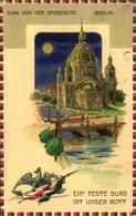 """BERLIN 1916, Dom Von Der Spreeseite, """"Ein Feste Burg Ist Unser Gott"""", Adler Mit Krone, Fahne U. Schwert, Straßenbahn, Br - Halt Gegen Das Licht/Durchscheink."""