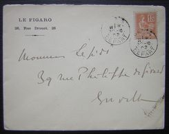 1902 Le Figaro (Journal) Lettre Paris Départ  Avec Logo à L'arrière - Poststempel (Briefe)