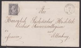 Eisenberg Sachsen Nr. 8 Vollrandig, Briefvorderseite Mit 1/2 Neugroschen König Johann Nach Altenburg - Sachsen