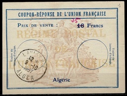 ALGERIE Uf7 Coupon-Reponse Franco-Colonial Antwortschein Reply 25 / 16 Francs  O ALGER ( Bienen / Bees / Abeilles ) - Covers & Documents