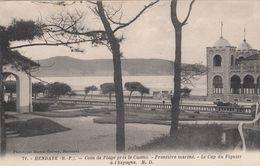 Cp , 64 , HENDAYE , Coin De Plage Près Le Casino , Frontière Marine , Le Cap Du Figuier à L'Espagne - Hendaye