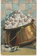 ENFANTS - BEBES - Jolie Carte Fantaisie Portrait Bébés Dans Marmite - Bébés