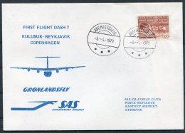 1979 Greenland Denmark Iceland SAS First Flight Cover. Kulusuk - Reykjavik - Copenhagen. Slania - Covers & Documents