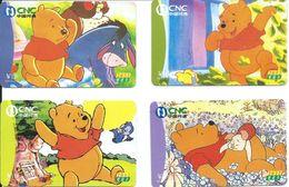 4 Télécartes Chine BD  Winnie Pooh Ours Dessins Animés (D 371) - Chine
