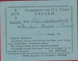 AVE MARIA 1950 Kaart Vergadering OLV Vrouw Congregatie Okegem - Tickets D'entrée
