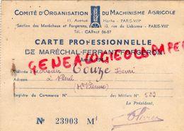 87- NIEUL- RARE CARTE PROFESSIONNELLE MARECHAL FERRANT FORGERON-1943-HENRI TOUZE-COMITE ORGANISATION MACHINISME AGRICOLE - Documents Historiques