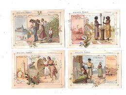 10628 - Lot De 4 Chromos Biscuits PERNOT , Le Travail Chez Tous Les Peuples, - Pernot