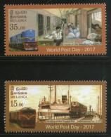 Sri Lanka 2017 World Post Day Railway Travelling Post Office Port Ship MNH # 2542 - Día Del Sello