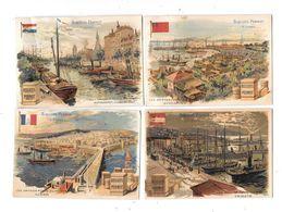 10629 - Lot De 4 Chromos Biscuits PERNOT , Trieste, Rotterdam,singapour,alger - Pernot