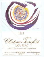 Etiket Etiquette - Vin - Chateau Terrefort - Loupiac - 1987 - Etiquettes