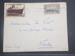 FRANCE - Enveloppe Du Voyage Inaugural Du Paquebot Normandie En 1935 , Affranchissement Normandie + Vignette - L 14770 - Correo Marítimo