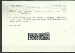 FEZZAN 1943 PACCHI POSTALI PARCEL POST LIBIA SOPRASTAMPATO SURCHARGE LIRE 2 MNH CERTIFICATO - Fezzan & Ghadames