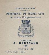 """DCL : Papier à Entête """"PENSIONNAT DE JEUNES GENS"""", Forges Les Eaux, Avec Armoiries. Daté D'avril 1944. - France"""
