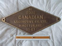Plaque Information Chemin De Fer Noté N° 2388 Canadian Locomotive CO. LTD. Kingston ONT. 1947 - Chemin De Fer