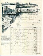 69.RHONE.VILLEFRANCHE.PARFUMERIE.SAVONNERIE.POSTICHES.P.DURAND & Cie 85 RUE NATIONALE. - Chemist's (drugstore) & Perfumery