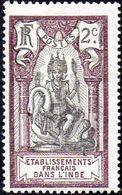 Inde - N°  26 * Dieu BRAMA *Surchargé 2c Lilas Et Noir - India (1892-1954)