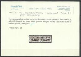 FEZZAN 1943 PACCHI POSTALI PARCEL POST LIBIA SOPRASTAMPATO SURCHEGERD LIRE 3 MNH CERTIFICATO - Fezzan & Ghadames