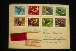 Lettre Exprès Allemagne DDR N°1531/38 Oiseaux 11/11/1973 - Sparrows