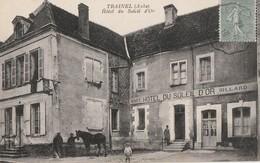 TRAINEL - L'HOTEL DU SOLEIL D'OR - CAFE, BILLARD - SUPERBE CARTE ANIMEE - - Sonstige Gemeinden