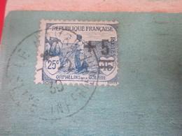 N° 165 Y-T--Timbre 1912 Surchargé 1922 Orphelin De Guerre Sur Carte Postale CPA Hotel Hostellerie Nice Havrais Le Havre - Postmark Collection (Covers)