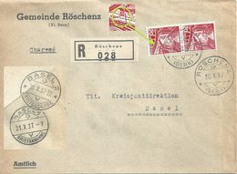 """R Brief  """"Gemeinde Röschenz"""" - Basel             1937 - Briefe U. Dokumente"""