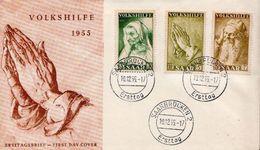 Saar Volkshilfe 1955 Set On FDC - Covers & Documents