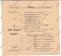 LE BELLE CANZONI ITALIANE - NOVITA' 1939 - O MORETTINO ! - SARA ! - - Spartiti