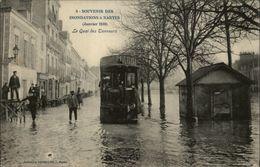 44 - NANTES - Quai Des Tanneurs - Erdre - Inondations 1910 - Tramway - Nantes