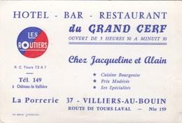 Hôtel Bar Restaurant Du Grand Cerf Chez Jacqueline Et Alain La Porrerie 37 VILLIERS AU BOIN - Cartes De Visite