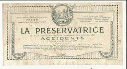 "BUVARD. ASSURANCE "" LA PRESERVATRICE ""   PARIS . 1920 ( Dim : 23.50 X 12 Cm ) - Bank & Insurance"