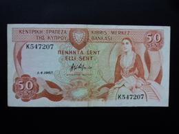 CHYPRE : 50 CENTS  1.4.1987  P 52   TTB+ / VF+ - Chypre