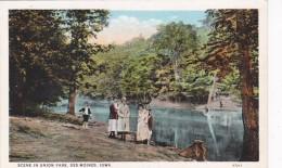 Iowa Des Moines Scene In Union Park Curteich - Des Moines