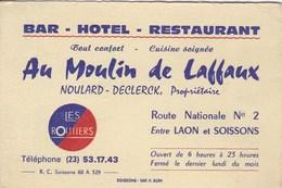Bar Hôtel Restaurant  Au Moulin De Laffaux NOULARD-DECLERCK Route Nationale N° 2 Entre LAON Et SOISSONS - Cartes De Visite