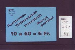 Svizzera 1993 - Laghi Alpini - Libretto 10v - L1418 MNH** Integro - Unused Stamps