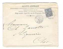 15c Bleu Type Sage Perforation SG Sur Enveloppe 1888 - France