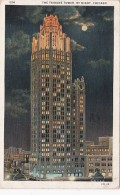 Illinois Chicago The Tribune Tower By Night 1931 Curteich - Chicago