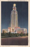 Louisiana Baton Rouge The State Capitol At Night 1940 Curteich - Baton Rouge