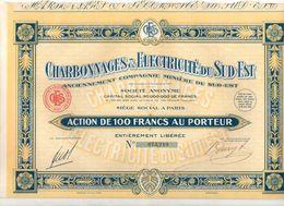 Action De 100 Francs N°073219 Au Porteur Charbonnages & Electricité Du Sud-Est De 1929 - Aandelen