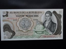 COLOMBIE : 20 PESOS ORO  20.7.1977  P 409c   NEUF - Colombie
